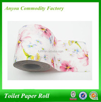 Virgin wood pulp printed novelty printed flower toilet paper,2 ply core toilet paper rolls,popular toilet paper roll