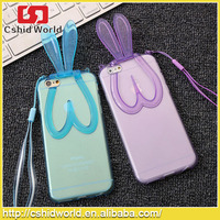 3D Soft Gel tpu rabbit stand Protective Cell Phone Rubber Silicone Skin Cover Case For Iphone 6 6 Plus