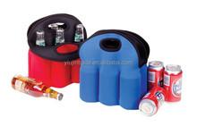 G4203 Neoprene 6 Pack Holder Open compartment with carry handle Neoprene cooler holder