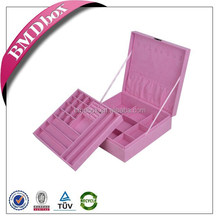 Top Quality Portable Commercial customized pink Color velvet Box jewelry wholesale