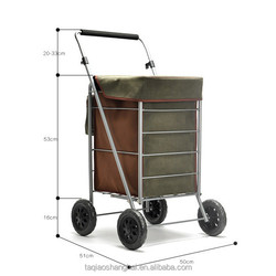 Angola Leather Bag Foldable Shopping Trolley with Four Wheels Shopping Cart