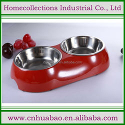 Bone Shaped Stainless Steel Double Diners Pet Bowl,cute pet dinner feeder for small animals