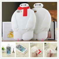 Cartoon BigHero 6 Baymax Soft Silicone 3D Mobile Phone Cover Case For iPhone 5/5s, For iPhone 6/6 plus