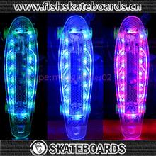 "2015Penni Style Skate Board PC Clear Skateboard led lights Complete 22"" Retro Cruiser mini longboard With Transparent Wheels"