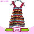 Rainbow 2015 laço bebê menina vestido de festa, baby vestido de aniversário, bebê menina vestido de verão
