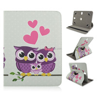 Leather Case For 7/8/10 inch Tablet PC,Owl Family Rotate Flip Stand PU Cover, Factory Wholesale Direct Sale(8 designs)