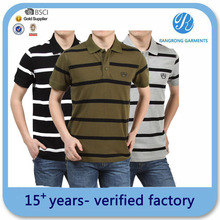 assorted color stripe mens t -shirt polo garment factory