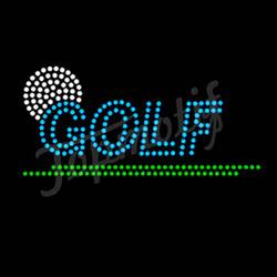 Blue Hot Fix Crystal Templates Rhinestone Motif Golf