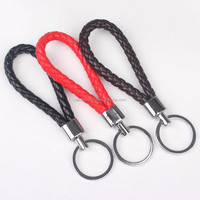 Key chain Wholesale Factory Braided Leather Keychain with CZ stones