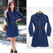 Fabricante chino de mezclilla de color azul jean vestido de diseño s131381