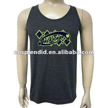 plain design comfort mens printed black tank top