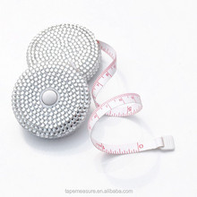 Mini Rhinestone Tape Measure,Round Retractable Diamond Tape Measure