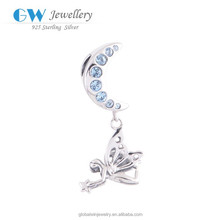 925 Sterling Silver Jewelry Hot Sale Angel Charms Wholesale Moon Charms With Blue Crystal Fit Women Jewelry S082