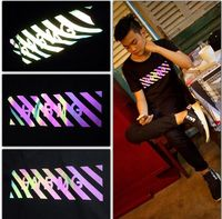glow in the dark high light rainbow color reflective cloth material