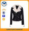 2015 flur lining leather woman fashion jacket OEM leather garments factory