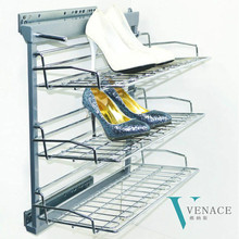 Cheap closet pull out shoe rack closed stainless steel metal shoe rack