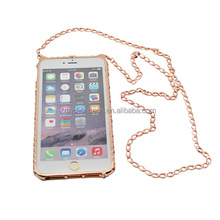 Mini Cat Pattern Bling Colorful Crystal Diamond cell phone case with necklace for iphone 5/5s/6/6plus CO-MTL-6013