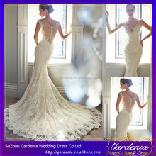2015 Low Cut Sheer Back Deep V-neck Sheer Top Cap Sleeves Beaded Crystals Appliques Sexy Lace Mermaid Wedding Dresses