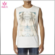 Whoelsale Mens Gym Wear Fitness Clothing Water Based Ink Print Muscle Tank Tops