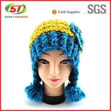 2015 winter knitted hat with two top balls handmade crochet hats for girls