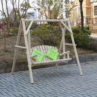 outdoor solid wooden swing for adults