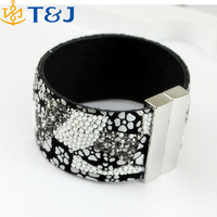 New fashion women rhinestone crystal beads magnetic clasp Leather Bracelet For Girls