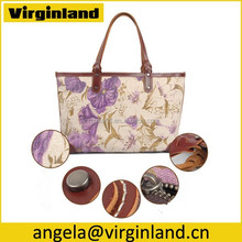 New Pretty Design Custom Floral Fabric Cotton Linen Handbag with Real Leather Handles for Girls