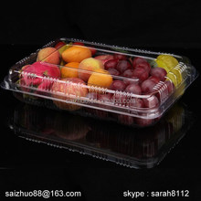 BOPS rectangle folding plastic clear fresh fruit storage box with clear lid
