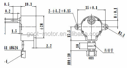 28mm 5-12v 28byj48 stepping motor