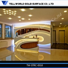 Hot Sale Cheap Modern Elegant LED Corian Marble Curved Nail Salon Reception Desk