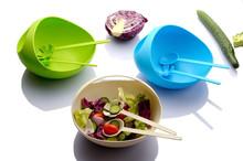 half moon plastic salad bowl can mix up