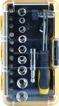 23pcs Multi-bits ratchet screwdriver with socket/Hand tool set/ Home repairing ratchet screwdriver with socket