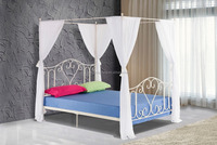 Leann Graceful Scroll Iron Metal Canopy Poster Bed - Queen Size