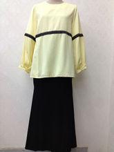 light yellow waist line baju kurung batik