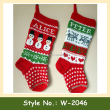 W-2046 cheap custom christmas stocks hand crochet christmas socks