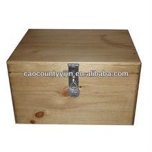 Pine Wood Storage or Keepsake Box with Lock