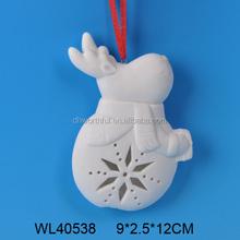 Elegant white porcelain christmas hanging decoration with reindeer design