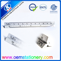 2015 oem accept 30 cm aluminum triangular scale ruler for students and offices
