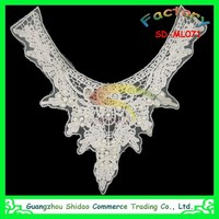 High quality beads and rhinestones decoration cotton crochet lace collar
