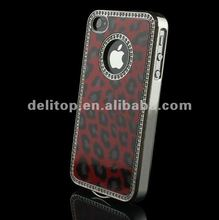 Luxury Bling Rhinestone Leopard Hard Case Cover for Apple iPhone 4 4S Red