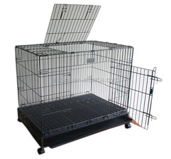 Metal Folding Double Door Dog Cage DC-006