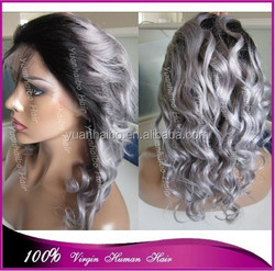 Best 6a quality peruvian virgin hair loose wavy real human hair grey ombre front lace wig
