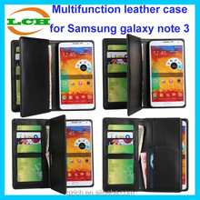 Multifunction credit card holder wallet and purse leather case for samsung galaxy note 3