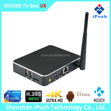 2015 best performance RK3288 android 4.4 Quad core Smart tv box android with Aluminum KODI Preinstalled