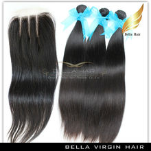 Top Grade 100% Unprocessed Human Idian Virgin Hair Human Hair Bundle With Closure Indian Human Hair 3 way part lace closure