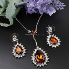 Fashion Jewelry Sets Necklace Earring 18K Gold Plated Water Drop Colorful Crystal Jewelry Set