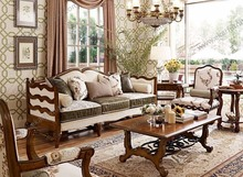 American Style living room furniture High Grade Wood Upholstery Sofa