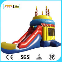 CILE 2015 High Quality Interesting Inflatable Cake and Candle Slide for Kids Jumping Game