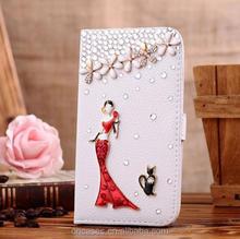 Custom design diy docration bling bling cute leather case cover For LG G3 case
