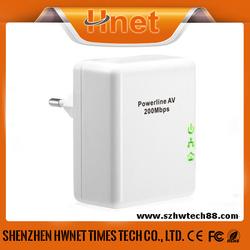 200Mbps wallmount homeplug plc powerline AV ethernet network adapter